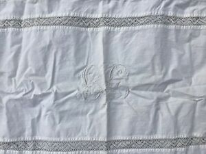 2 Antique Edwardian Cotton Lace And Embroidery Decorated Pillow Shams