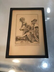 Antique 1800s Hand Colored Lithograph Print Wood Frame Guenthers Galleries