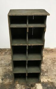 Vintage Large Wine Shelf Sorter Wood 10 Cubby Holes Store Display Cabinet