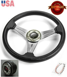 13 5 Gunmetal Brushed Spokes Steering Wheel Horn Button W Hub Fit Honda Acura