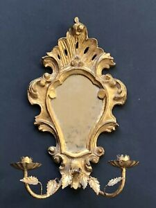 Vintage Gold Italy Italian Antique Mirror Framed Candle Sconce Hollywood Regency