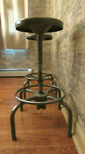 Lot Of 2 Vintage Industrial Metal Shop Stools Swivel Seat Height 22 5 To 30