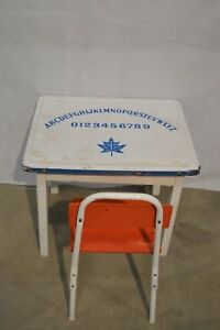 Vintage Antique Enamel Kid S Table White With Letters Numbers Maple Leaf