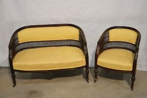 Vintage Antique Italian Settee Furniture Set Love Seat Chair Yellow Color Wood