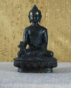 Old Chinese Bronze Buddha Statue Tibetan Buddhism Sculpture Spirit Blessing