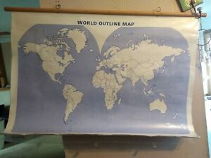 World Project Us Pull Down Classroom Map Wooden 2 Maps Transparencies School