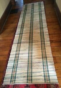 Long Vintage Hand Woven Rag Rug Runner Multi Color 11 3 X 37 Stairs Cabin 8