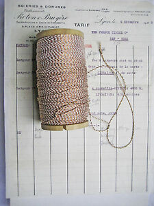 10 Yd Vintage Antique French Metallic Copper White Cord Rope Bakery Twine 1 16
