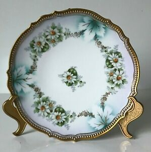 P K Silesia Porcelain Plate Daisy Hand Painted Scalloped Edges Gold C1914 1918