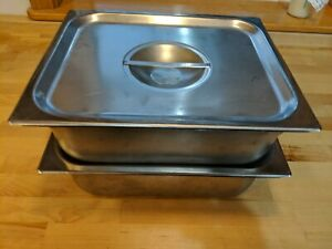 2 Used Vollrath Super Pan 1 2 Size Anti Jam Stainless Steel With Lid Steam Table