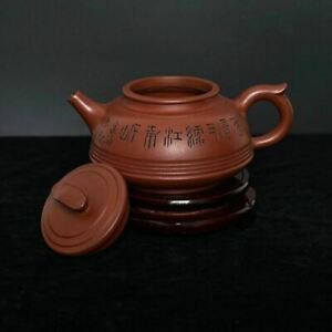 2 7 H Antique Chinese Zisha Teapot Hand Carved Yixing Sand Ware Marks