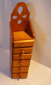 Vintage Wood Primitive Storage Cabinet 6 Drawer Apothecary Spice