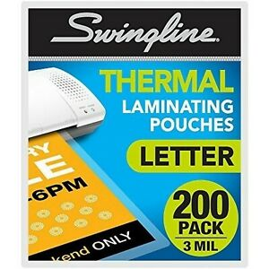 Swingline Thermal Laminating Sheets Pouches Letter Size Pouch Standard Th