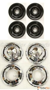 Toyota Land Cruiser 1969 1984 Fj40 15 Inch Steel Wheel Set Of 4 Hub Caps Oem