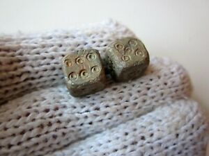 Lot Of 2 Ancient Roman Carved Lead Dice Legionary Gaming Pieces 1 2ad