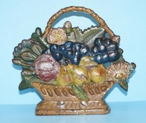 Antique Country Store Basket Of Fruit Cast Iron Doorstop Cane Holder 1900 Aafa