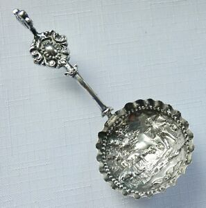 Antique Dutch Silver Embossed Tea Caddy Spoon Duck Figural