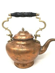 Vintage Hammered Copper Brass Teapot Kettle Middle Eastern Large 14 Inches