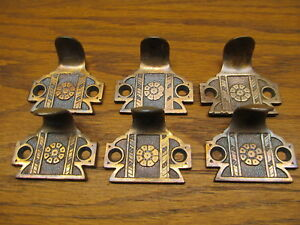 6 Old Brass Bronze Window Sash Lift Appothecary Drawer Pulls Ornate