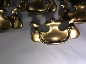 8 Vintage Colonial Chippendale Style Brass Drawer Pulls 3677 Dresser Handles