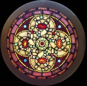 4 Antique American Round Stained Glass Windows Povey Bro Studio Of Portland