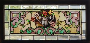 Antique Stained Beveled And Jeweled Transom With A Urn Center Piece
