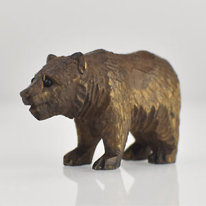 Antique Carved Bear Miniature Figurine Wood Carving Brienz Black Forest