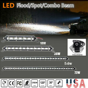 7 25 Inch Single Row Slim Led Work Light Bar For Car Offroad 4wd Suv Truck Usa