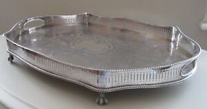 Large Galleried Silver Plate On Copper Sheffield Tray In Great Condition