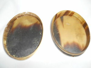 Antique Early Horn Snuff Oval Box Circa 1890s Transparent Top
