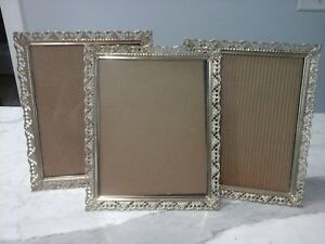 Lot Of 3 Vintage Brass Filigree Hollywood Regency Lacy Picture Frames 8x10
