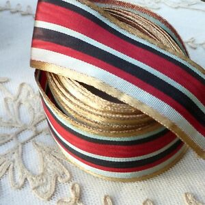 Antique Ribbons Gold Metal Silk Thread Trims Lot