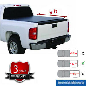 Black Soft Vinyl Roll Up Tonneau Cover Fit 82 93 S10 S15 Sonoma 6 Fleetside Bed