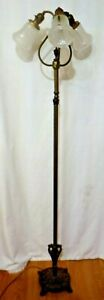Vintage Brass Floor Lamp With 3 Arms Frosted Glass Bell Shaped Shades Cast Base