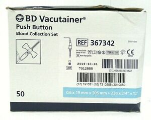 box Of 50 Bd Vacutainer Push Button Blood Collection Set 367342