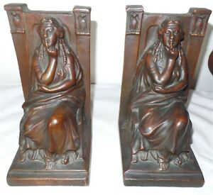 Pair Vintage Goddess Of Silence Bookends Signed Morani Copyrighted 1914 Vg