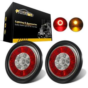 2xred Amber 16led 4 Inch Multi Function Stop Turn Signal Tail Lights Flush Mount