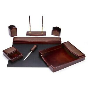 Majestic Goods 7 Piece Burgundy Oak W Leather Executive Office Desk Set w402