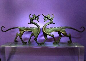 Rare Pair Of Chinese Zhou Dynasty Bronze Mythical Beast Qilin Old Collection