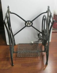 Antique Treadle Sewing Machine Cast Iron Base Stand Table Shabby Chic White
