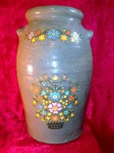 Antique Rare Color 5 Gallon Decorated Stoneware Butter Churn Catawba Valley Nc
