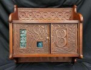 Rare 1800 S Aesthetic Movement Hand Carved Wood Wall Cabinet With Majolica Tile