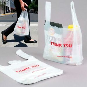 600 Thank You Merchandise Plastic Retail Handle Bags Grocery Carry Out Store Lot