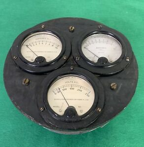 Vintage 3 Meter Gauge Weston Electrical Instrument Steampunk 476 Ammeter