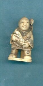 Man With Fish Hawk Signed Netsuke Vintage Stunning Hand Carved 904 B