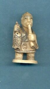 Man With Fish Pipe Signed Netsuke Vintage Stunning Hand Carved 905 B