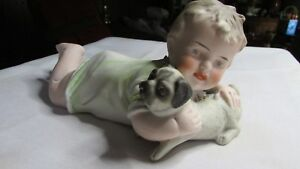 Antique Piano Baby Child With Pug Dog
