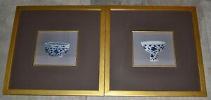 Vintage Pair Chinese Embroidered Silk Panels Blue White Stem Bowl Embroidery