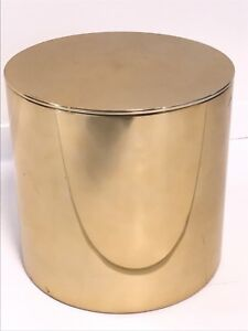 Mid Century Modern Vintage Brass Drum End Table Paul Mayen For Habitat