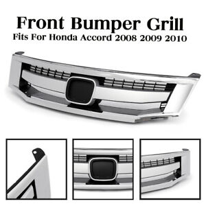 For Honda Accord 2008 2010 Front Bumper Sport Model Chrome Upper Grille Grill